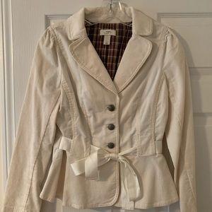 Classic with feminine detail cream corduroy blazer